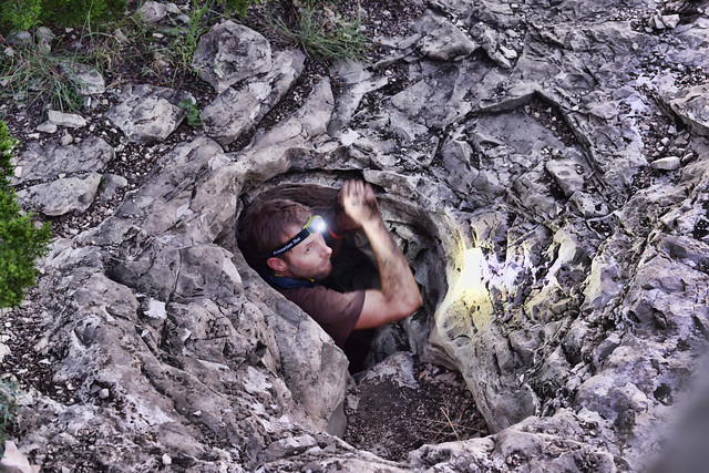Me coming out of the cave. Photo by Jeffrey Genova.